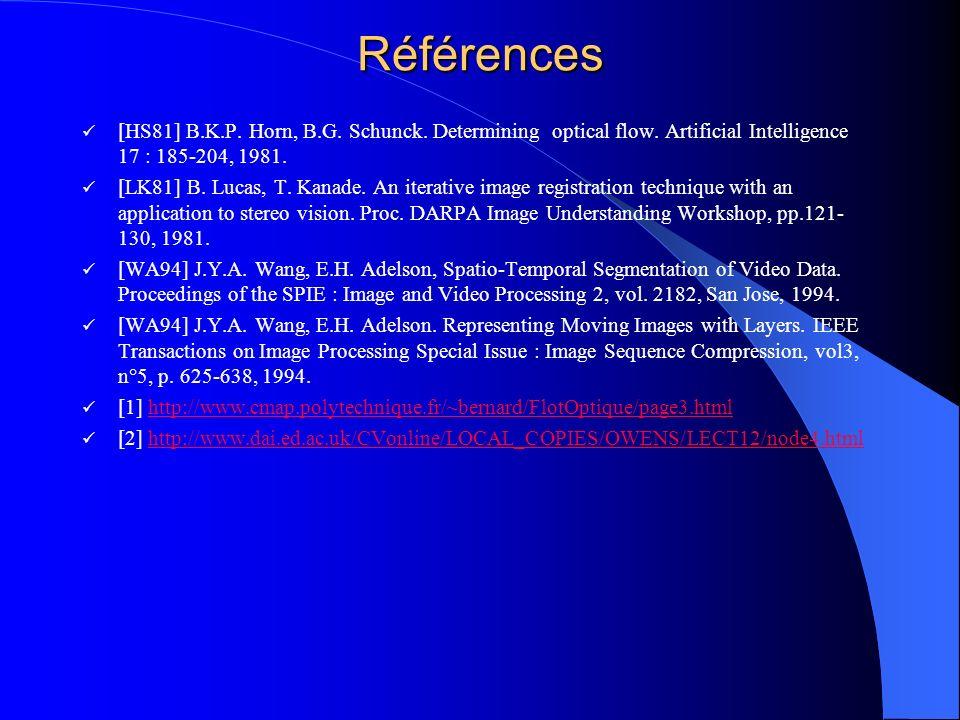 Références[HS81] B.K.P. Horn, B.G. Schunck. Determining optical flow. Artificial Intelligence 17 : 185-204, 1981.